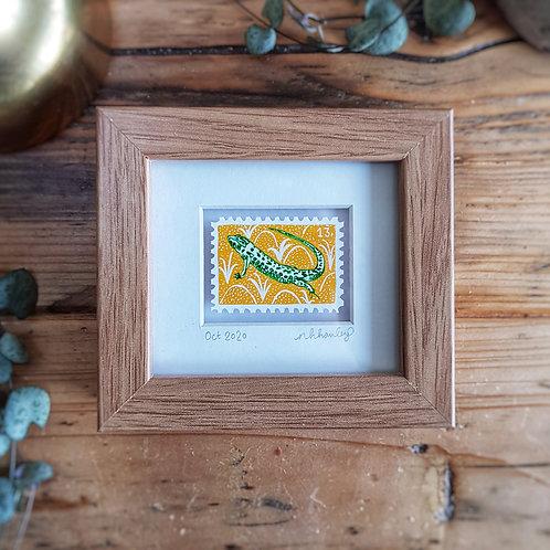 Sand Lizard Mini Stamp Art | Original Art | Howell Illustration