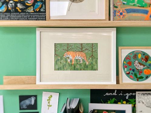 Tiger and Folk Art | Original Ink Drawing | Framed