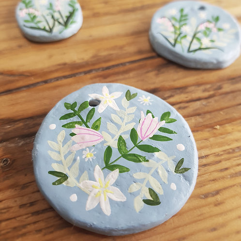 Hand Painted Large Round Floral Trinket