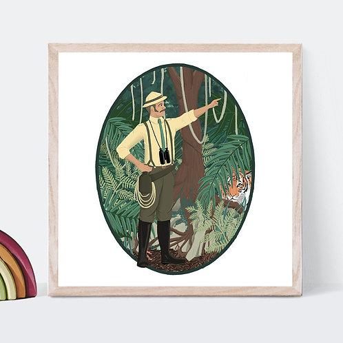 Jungle Explorer Art Print | Original Design | Signed