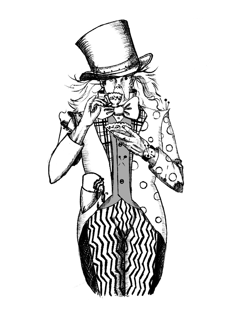 Drawing of The Mad Hatter for the book Momenticon by Andrew Caldecott