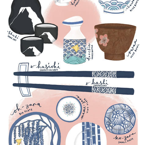 An illustration of a set of Japanese utensils inspired by my visit to Japan and some of the things I brought back with me