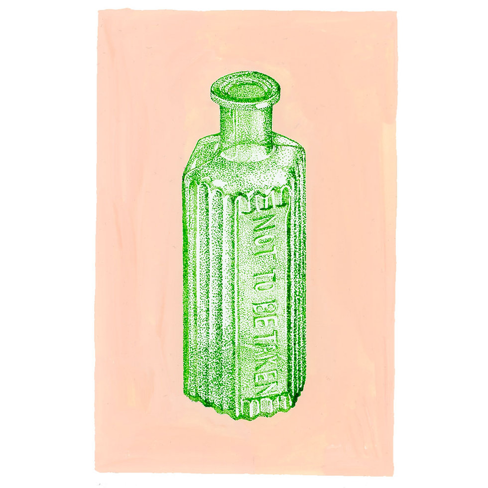 A dotwork pen and ink drawing of an antique medicine bottle