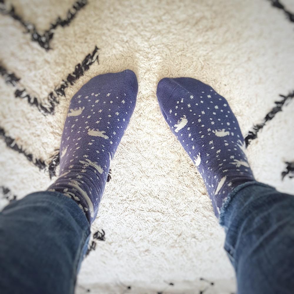 organic cotton blue socks with polar bears on them well worn