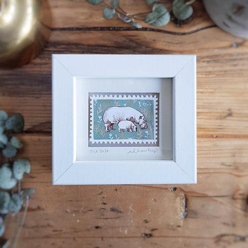 Hippo Family Mini Stamp Art | Original Art | Howell Illustration