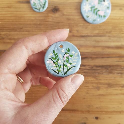 Hand Painted Medium Round Floral Trinket