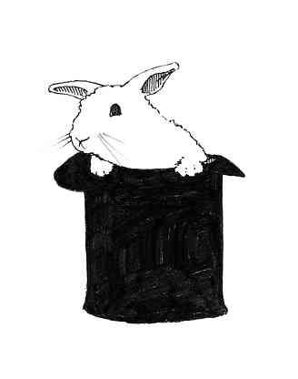 Rabbit in a Hat Illustration
