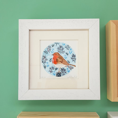 Robin and Folk Art | Original Ink Drawing | Framed