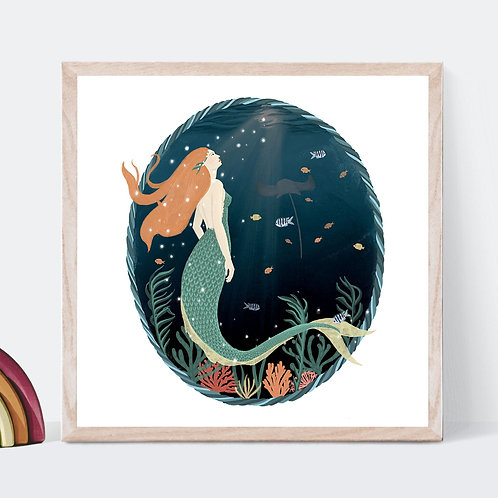 Underwater Mermaid Art Print | Original Design | Signed