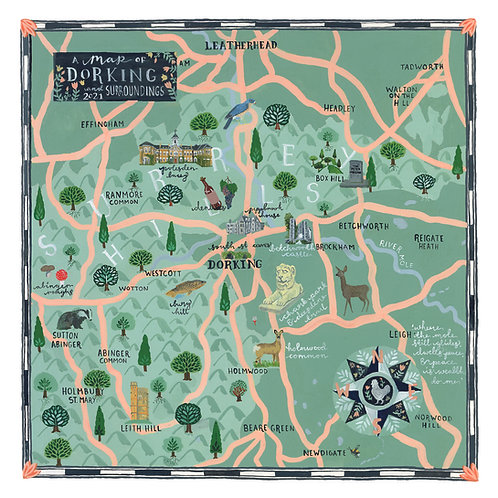 A Map of Dorking and Surroundings | Giclee Art Print | Limited Edition