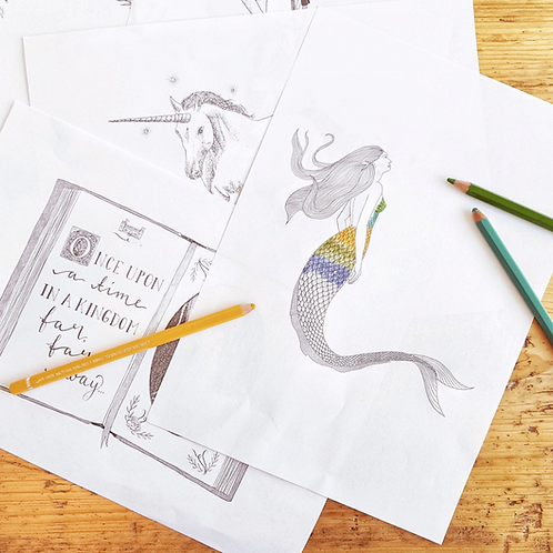 Downloadable Colouring Sheets   Includes Fairy, Knight and Mermaid