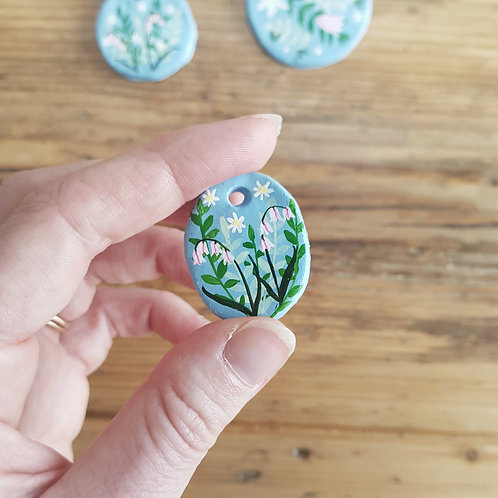 Hand Painted Oval Floral Trinket