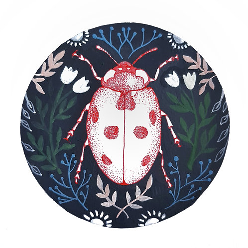 Ladybird and Folk Art | Original Ink Drawing | Framed