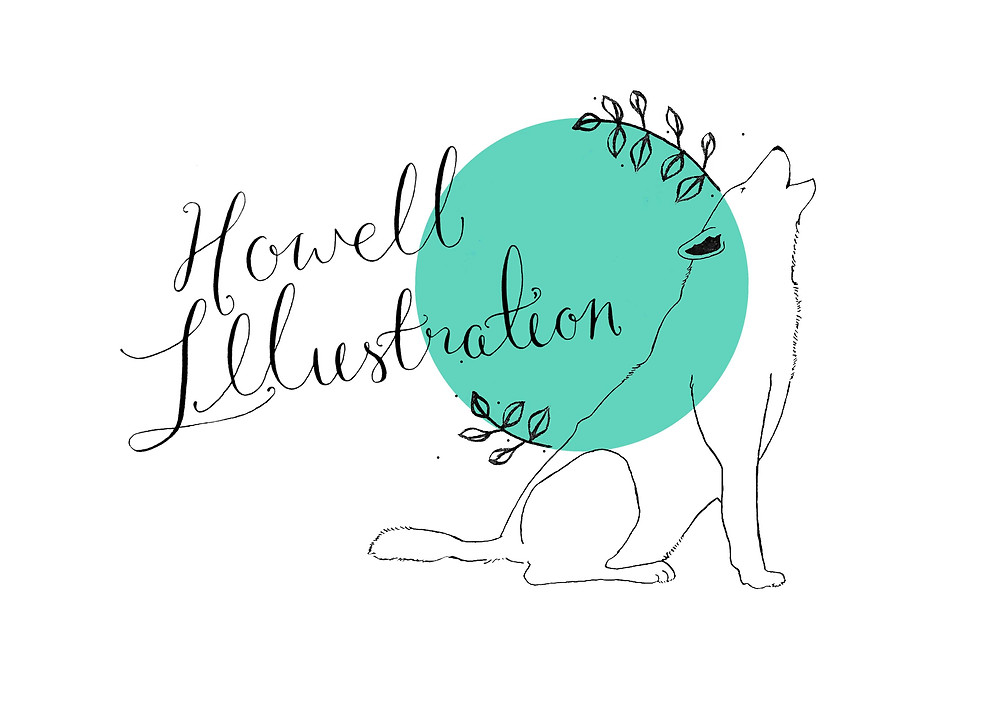 Wolf and plants drawing with calligraphy. The Howell Illustration logo