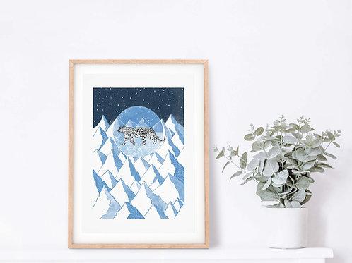 Snow Leopard Giclee Art Print