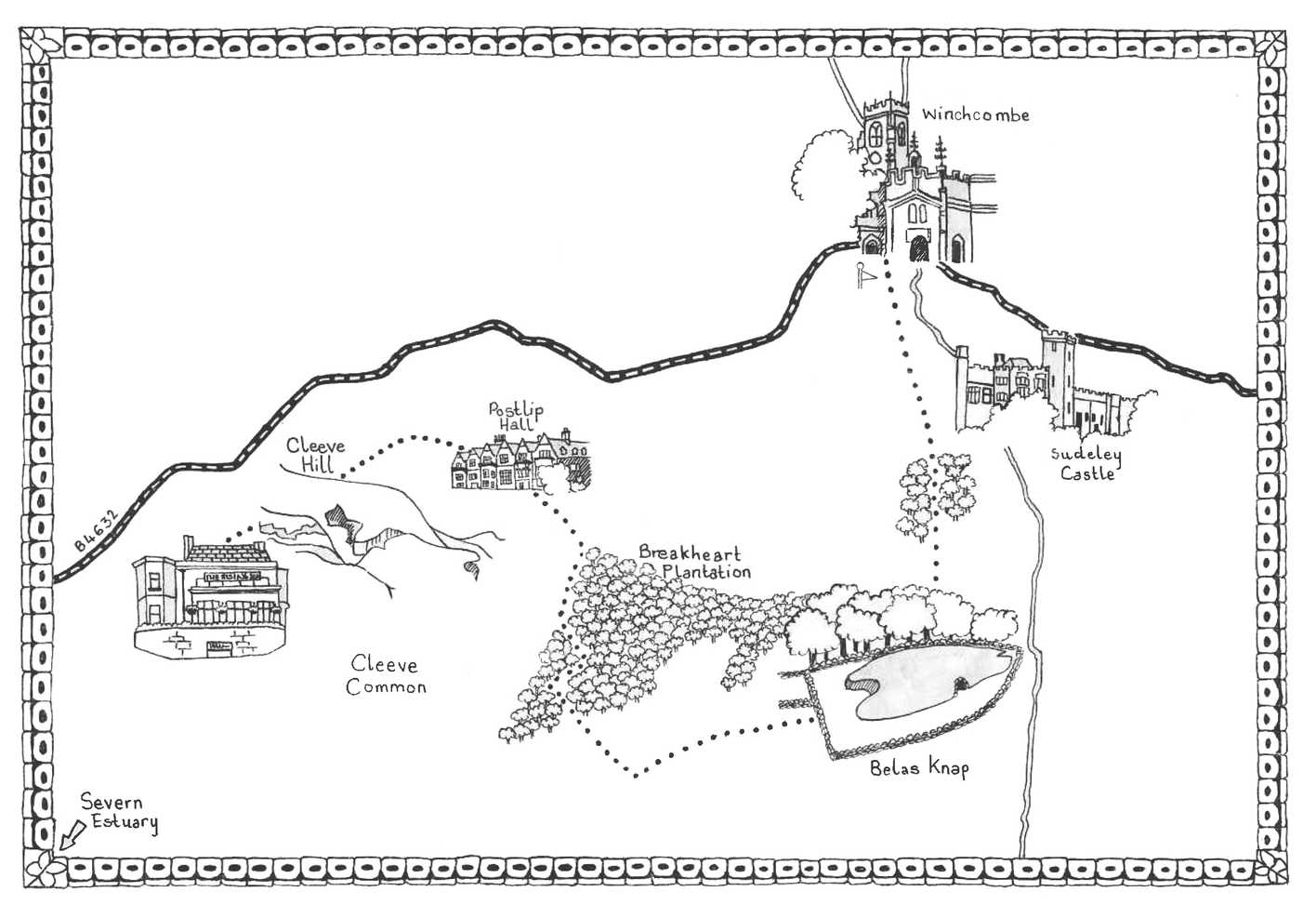 Walk 5, The Cotswolds Map Illustration