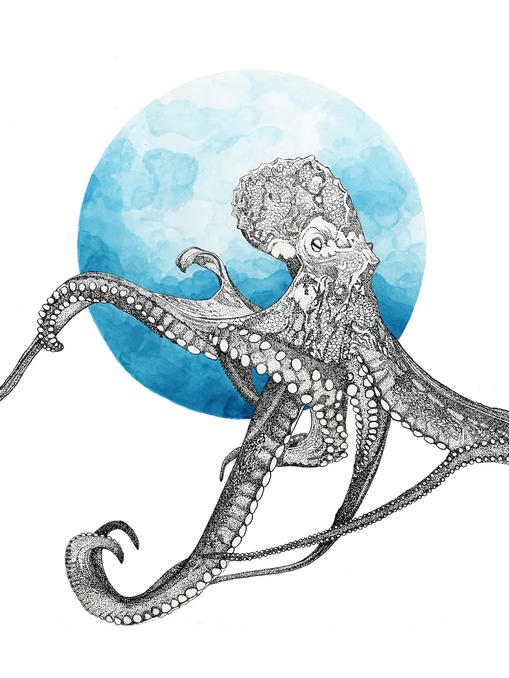Pen and Ink Dotwork Octopus Drawing