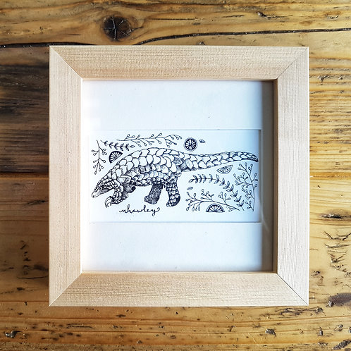 Pangolin and Folk Art | Original Ink Drawing | Framed