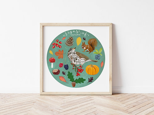 Signs of Autumn | Bird and Animal Art Print | Signed