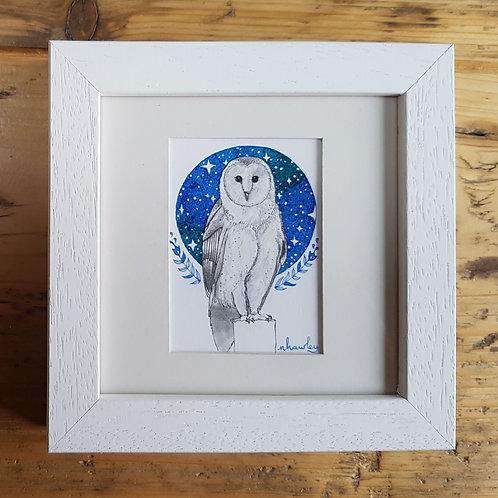Owl, Sky and Folk Art | Original Ink Drawing | Framed