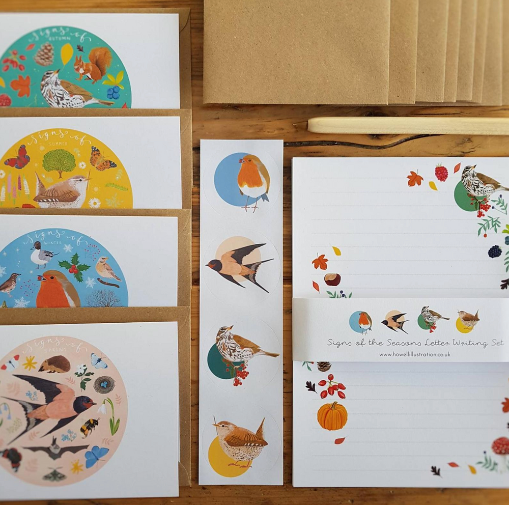 100% Recycled Paper, sustainable, eco friendly and recyclable letter set by Howell Illustration. Featuring signs of the seasons artwork.