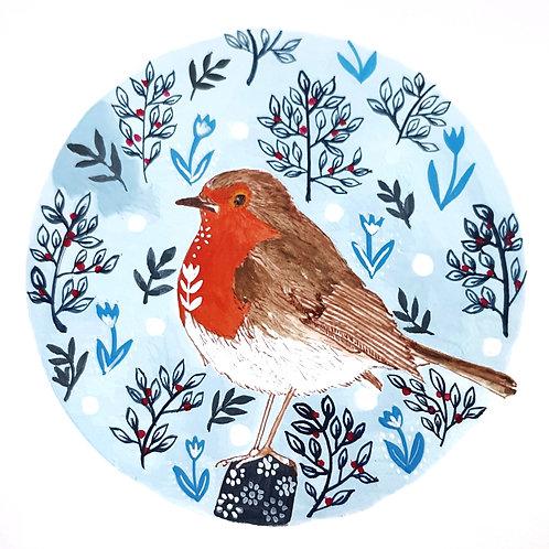 Robin and Folk Art | Original Ink Drawing | Framed