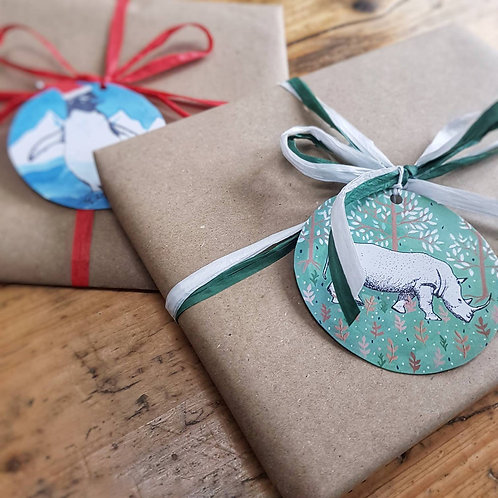 Recycled Paper Gift Tags | 100% Recycled Paper | Gift Tags with Various Animals