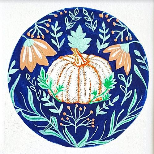 Pumpkin Drawing and Folk Art | Original Ink Drawing | Framed