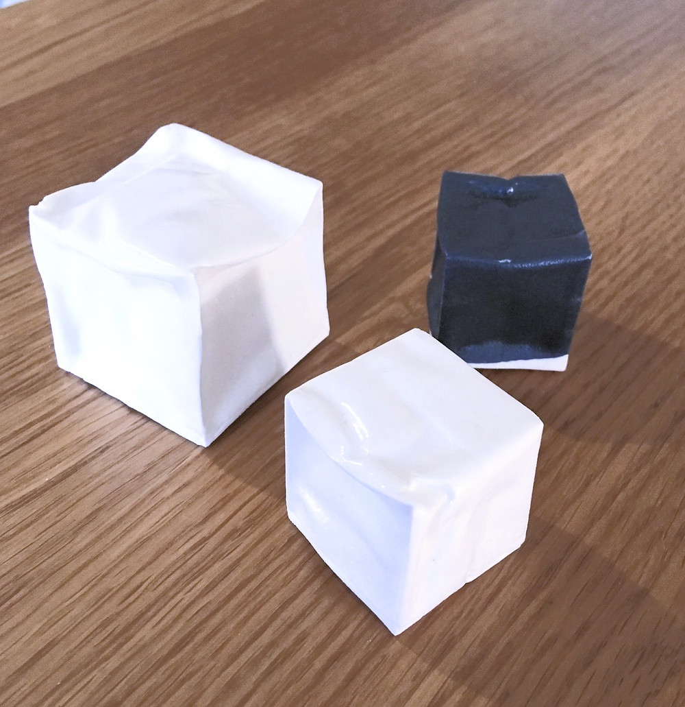 Origami porcelain cubes by Anne Wagstaff of Dodhurst Ceramics