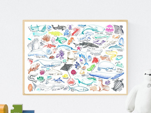 Sea Creatures Poster SECONDS