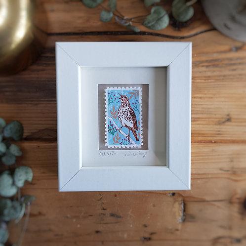 Song Thrush Mini Stamp Art | Original Art | Howell Illustration