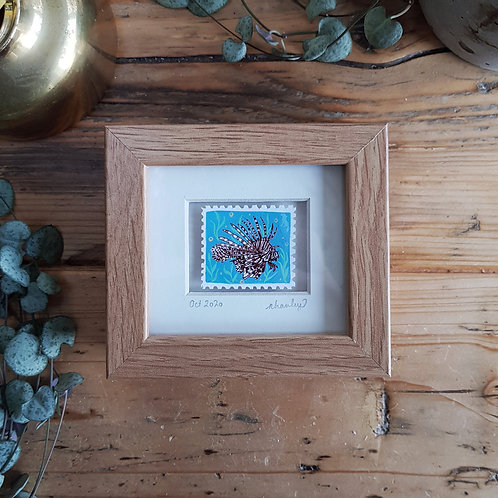 Lionfish Mini Stamp Art | Original Art | Howell Illustration
