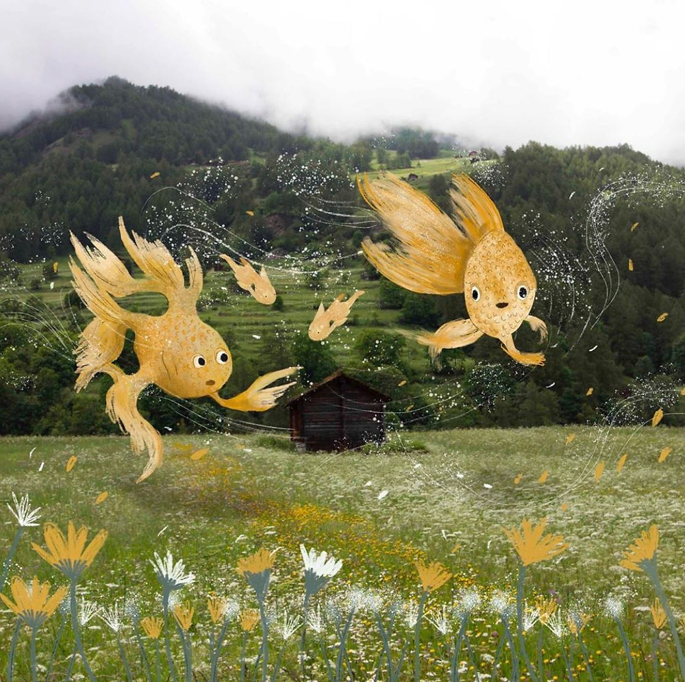 flying fish illustration in a field