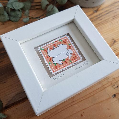 Sleeping Rabbits Mini Stamp Art | Original Art | Howell Illustration