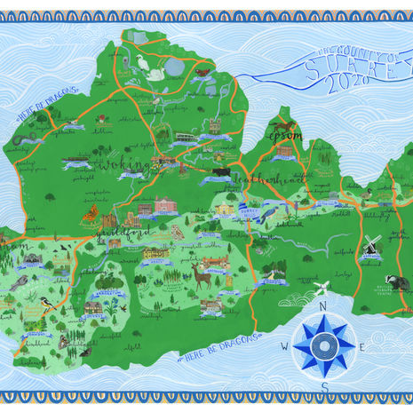 An Illustrated Map of Surrey Hills
