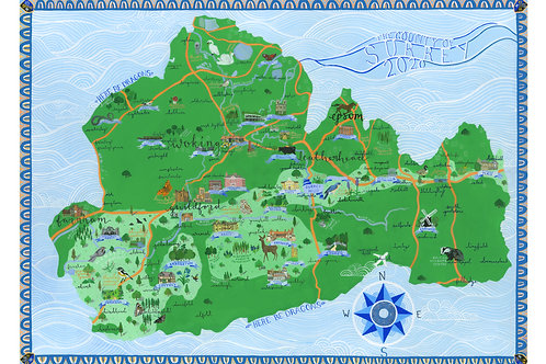 Illustrated Map of Surrey | Limited Edition Giclee Print | A2