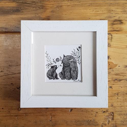 Bear and Cub Folk Art   Original Ink Drawing   Frame