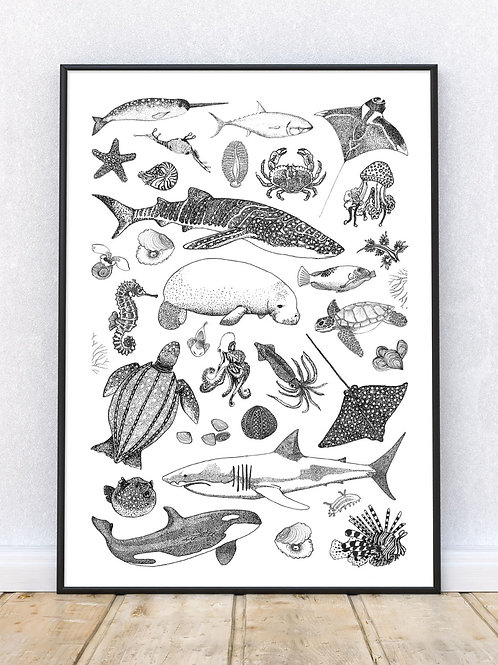 Sea Creatures Art Print | Black and White | Tattoo | Giclee | Signed