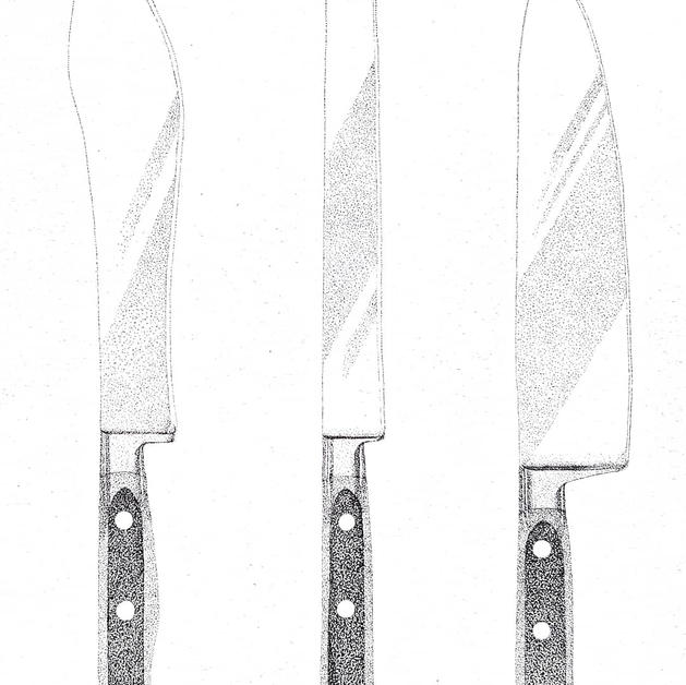 Chef's Knives Pen and Ink Dotwork Illustration