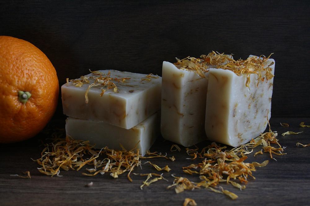 Bubble & Blake's Citrus essence - Calendula Soap with Palmarosa, Grapefruit and Sweet Orange - Certified Natural Vegan Handmade Soap - Cold Process
