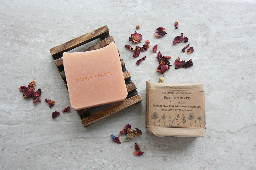 Exotic Elixir - French Clay Soap with Rose Geranium, Cananga and Litsea Cubeba - Certified Natural Vegan Handmade Soap - Cold Process