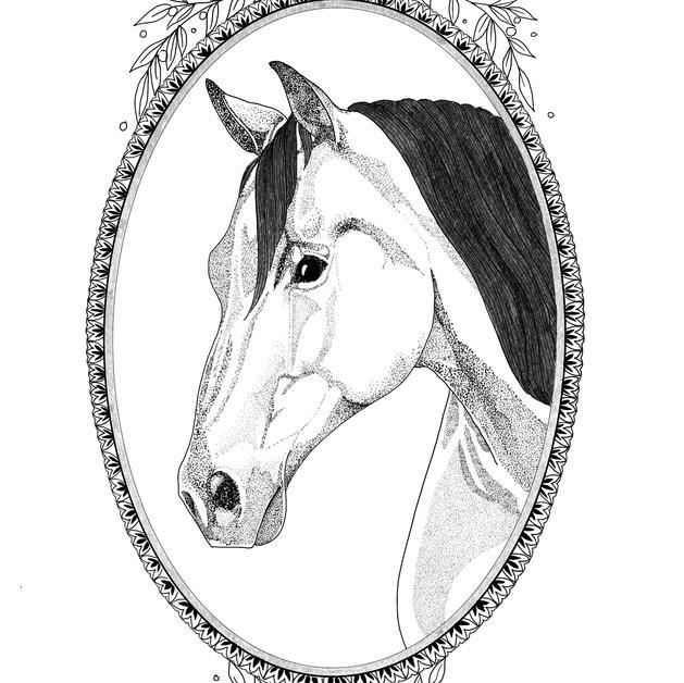 Dotwork Horse Cameo