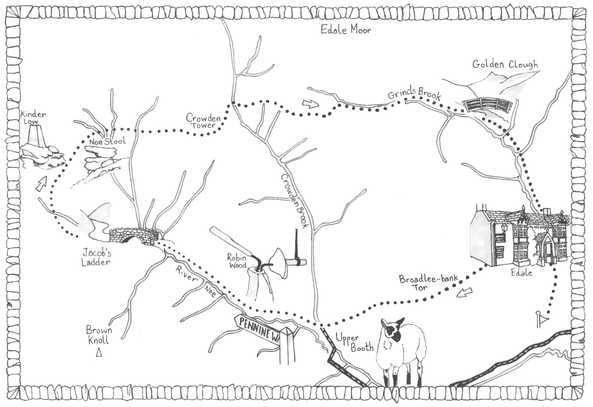 Walk 8, Peak District Map Illustration