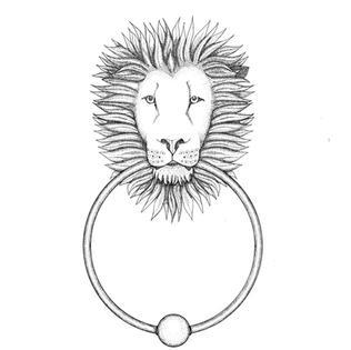 Dotwork Lion Door Knocker Drawing