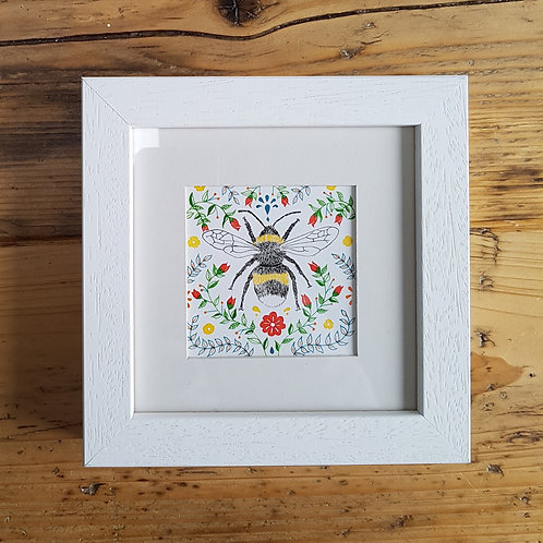 Bee and Folk Art | Original Ink Drawing | Framed
