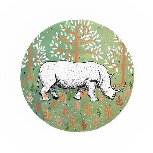 Rhinocerous and Folk Art | Original Ink Drawing | Framed