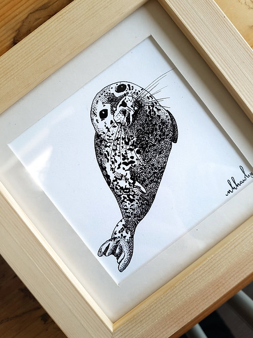 Harbour Seal Dotwork Drawing | Original Ink Drawing | Framed