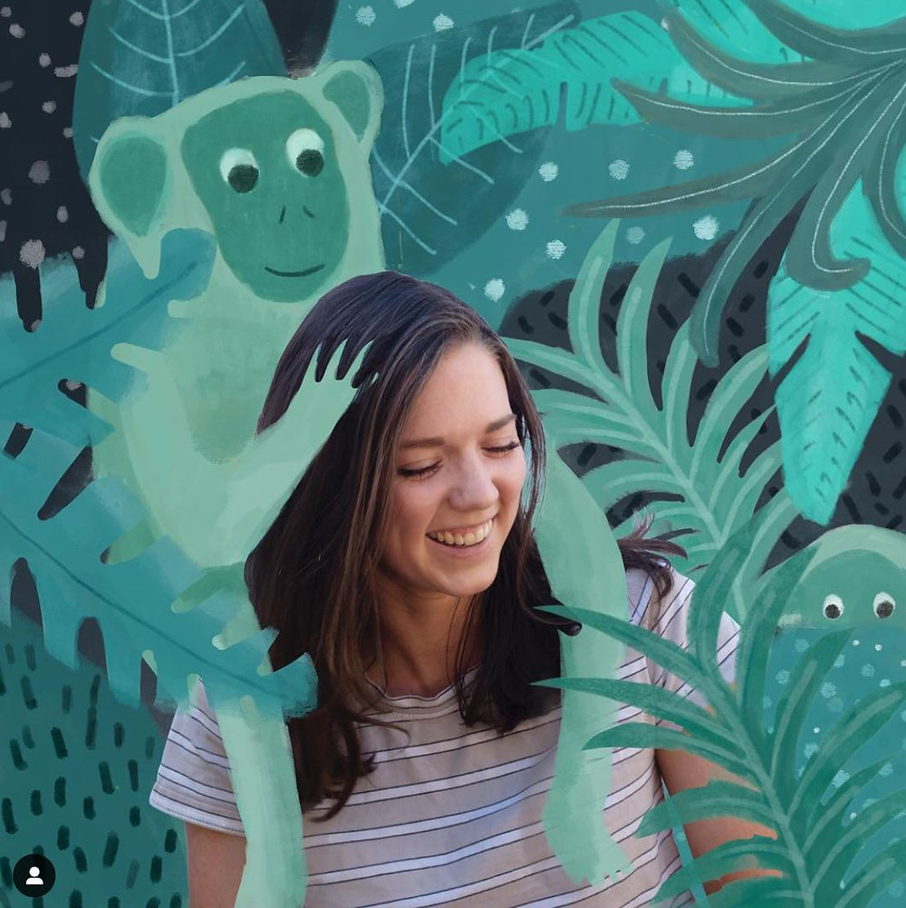 artist georgia camden with illustration of monkey and jungle