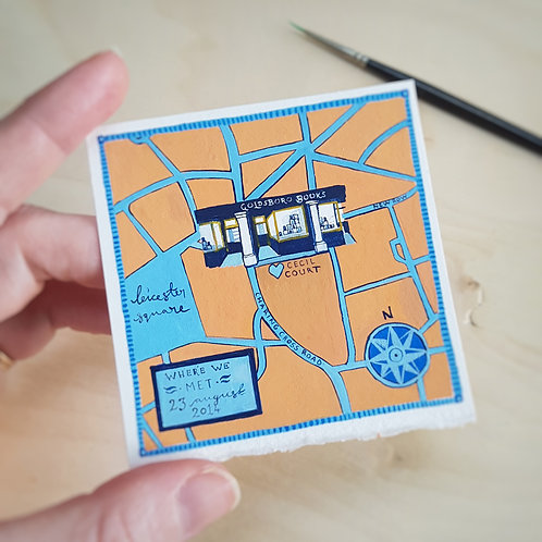 Mini Maps | Hand Painted | Personalised