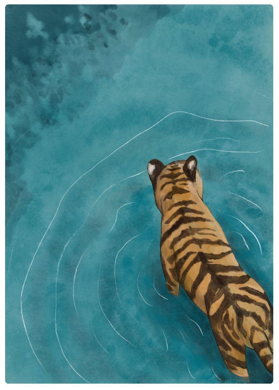 Tiger wading through water art